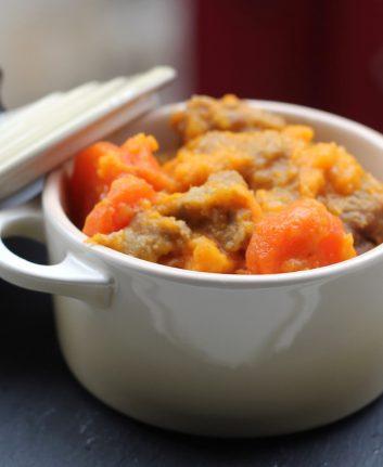 Sauté de veau au cumin et à l'orange, carottes et patates douces