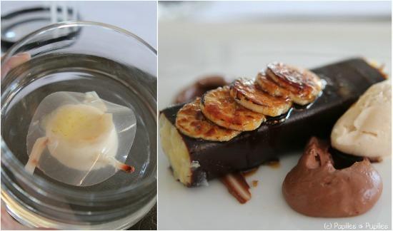 Blanc manger coco, litchis, gelée de pamplemousse, sirop de rose au cumbava - banane chocolat noir