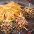 Cubes de Saumon écossais Label Rouge aux graines torréfiées, céleri et carotte croquante au curry