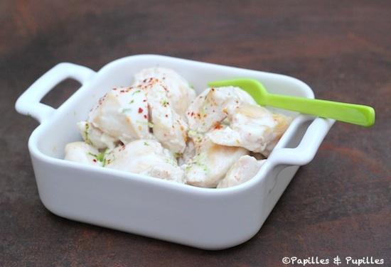 Dés de poulet mariné au yaourt, citron vert et piment d'Espelette