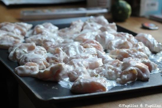 Poulet mariné avant cuisson