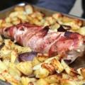 Filet mignon au lard fumé et pommes de terre au four