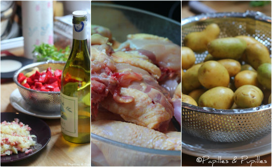 Ingrédients pour poulet cocotte
