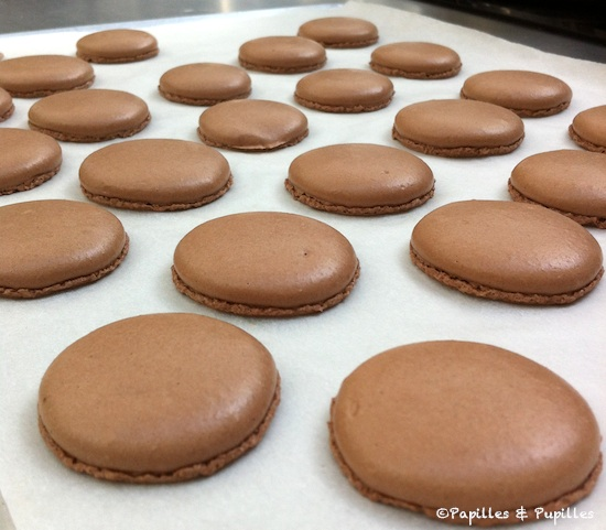 Macarons au chocolat cuits