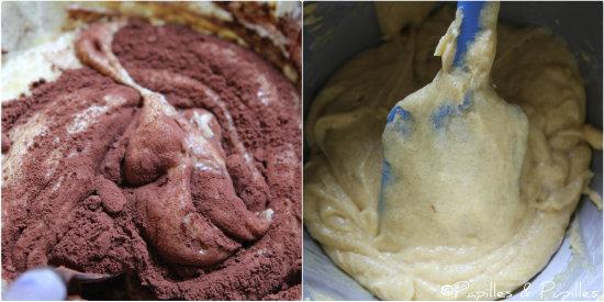 Pâte au chocolat et pâte à la vanille