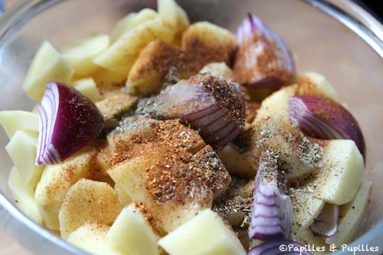 Pommes de terre et oignon, épicés