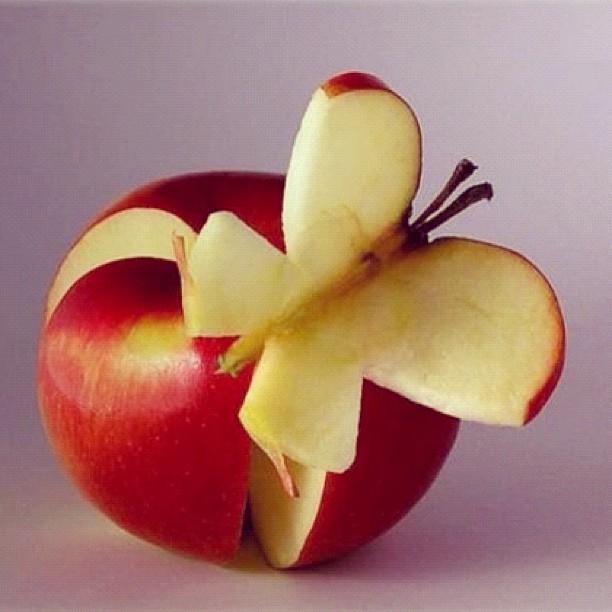 Pomme papillon #foodArt - pas pu trouver l'auteur original