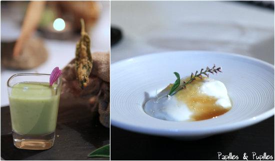 Veloutés de petits pois et feuilles de sauge - Recuits au miel
