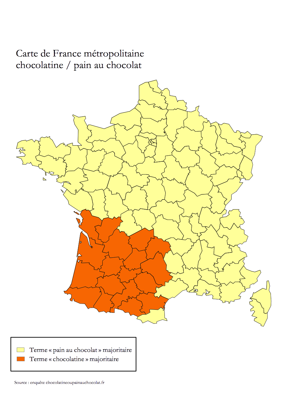 Carte de France Métropolitaine Chocolatine vs Pain au chocolat