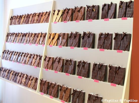Mur de tablettes de chocolat