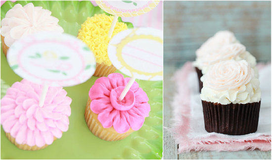 Pink  Party et Valentine rose cupcakes