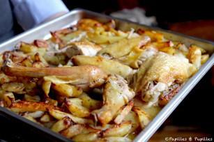 Poulet rôti et pommes de terre au four