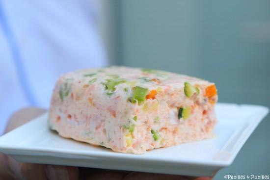 Terrine de saumon aux langoustines et petits légumes
