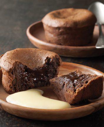 Fondant au chocolat et crème anglaise