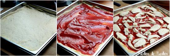 Pâte, coulis de tomates et mozzarella