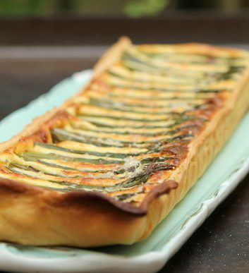 Tarte aux pointes d'asperges vertes et au Parmesan