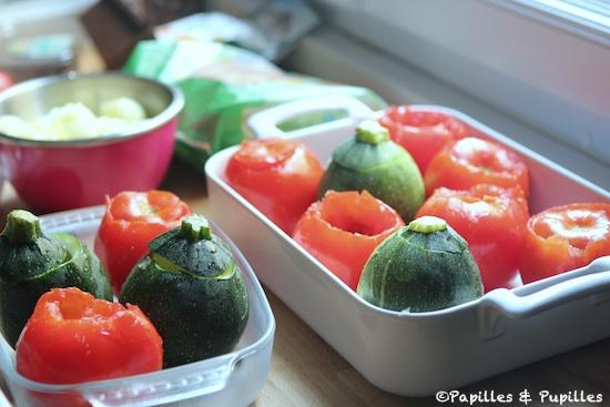 Tomates et courgette évidées
