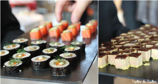 Makis de légumes, saumon et opéra de foie gras