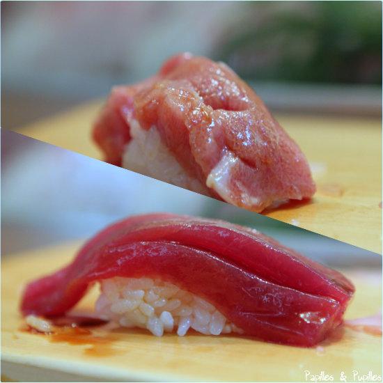 Thon rouge - 2 morceaux. En haut le ventre plus ros et plus gras - En bas plus rouge le dos