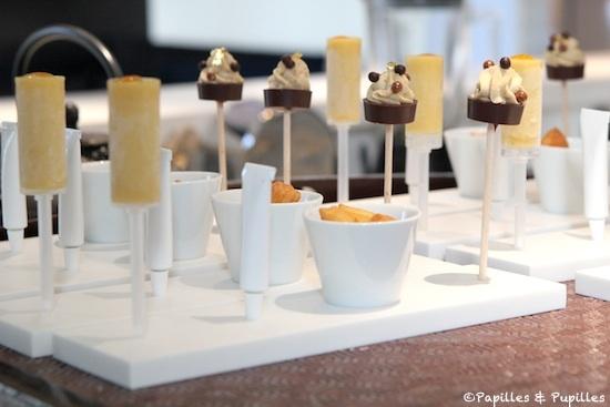 Mignardises - pousse pousse à la banane, mini churros et pâte à tartiner maison, sucette chocolat