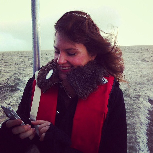 With @vickywine on the boat. Oysters Farm