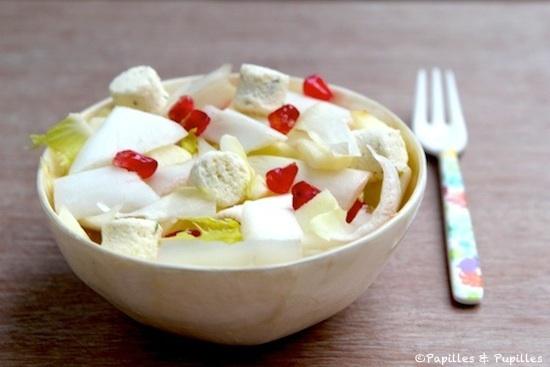 Salade d'endives, Boursin apéritif ail et fines herbes, pommes et grenade