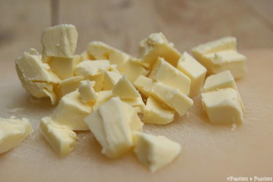 Beurre coupé en dés