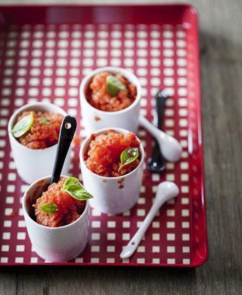Sorbet au coulis de tomates, basilic et citron