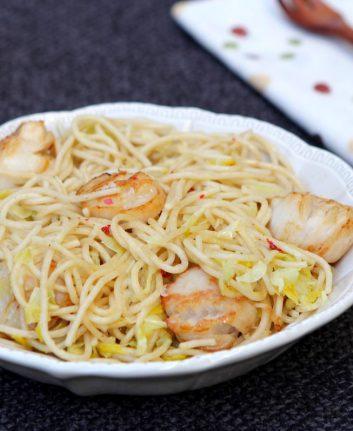 Spaghettis aux poireaux et noix de Saint Jacques