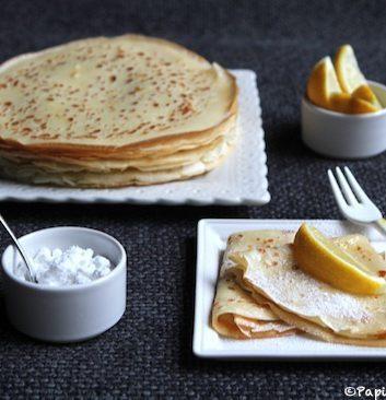 Crêpes au sucre et jus de citron