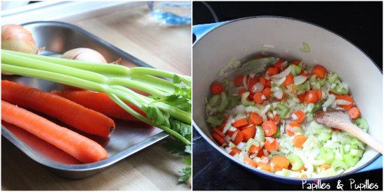 Céleri, carottes et oignons