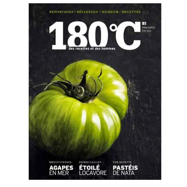 180°C, des recettes et des hommes est une nouvelle revue semestrielle mi livre mi magazine qui sortira le 5 avril 2013 - 19,90€