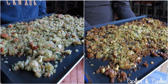 Miettes avant et après cuisson