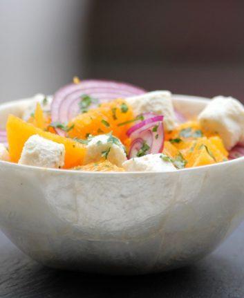 Salade d oranges, oignons rouges et fromage frais