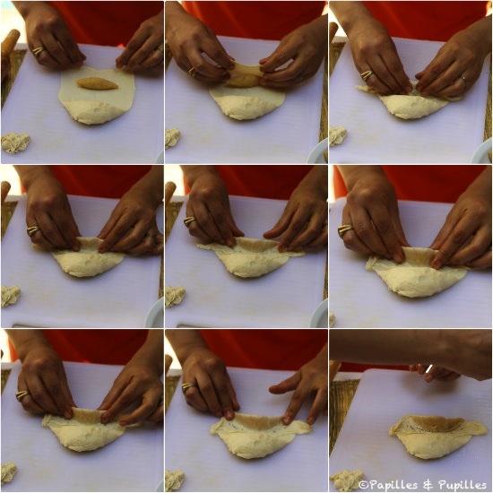 Pliage de la pâte pour les cornes de gazelle