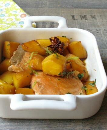 Saumon laqué sauce soja, mangue, badiane et citron vert
