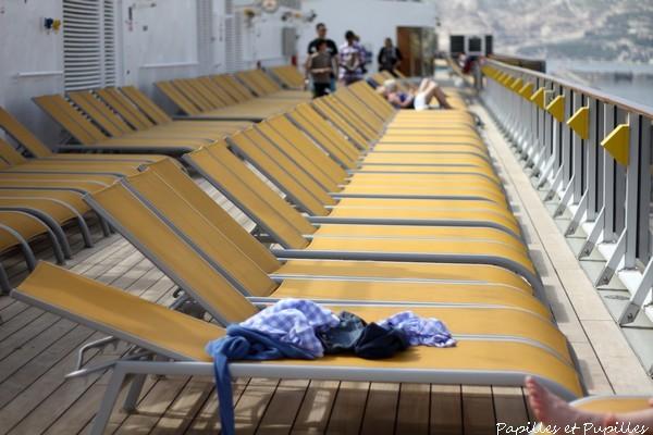 Chaises longues pour bain de soleil