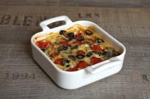 Clafoutis aux tomates cerises et aux olives noires