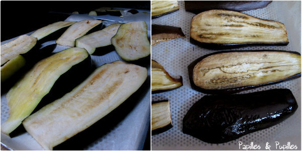 Lamelles d'aubergines avant et après cuisson