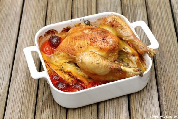Poulet aux tomates, poivron, vin blanc et thym cuit