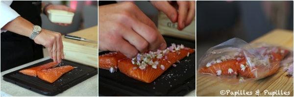 Préparation du saumon sous vide