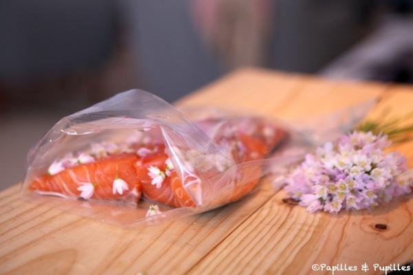 Saumon mis en sachet avant cuisson sous vide