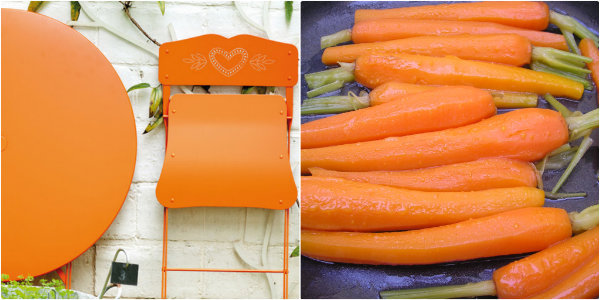 Table Bistrot orange et carottes nouvelles glacées