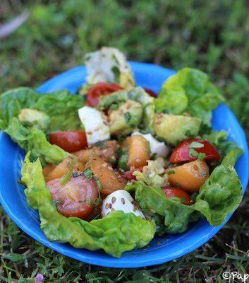 Salade fraicheur au melon, avocat, tomates et mozzarella
