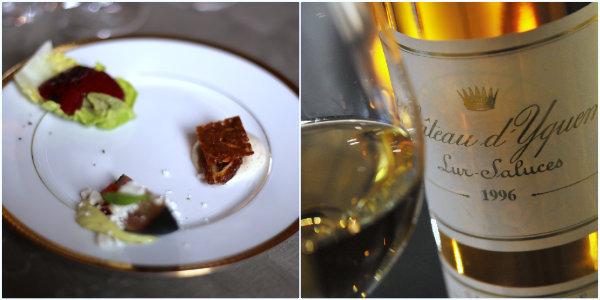 Sucrine cassis olive - Figue Pistache et poivron rouge - Datte, crème légère, Nougatine et Château Yquem 1996