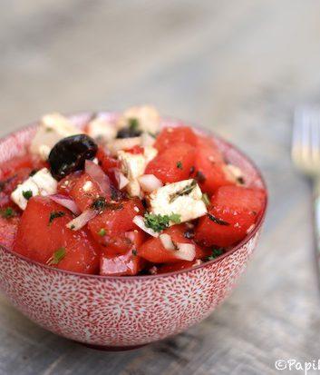 Salade olives noires pastèque feta menthe