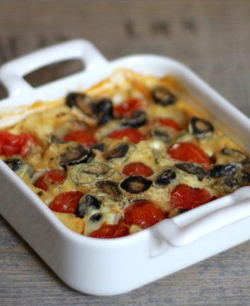 Clafoutis aux tomates cerise et aux olives noires