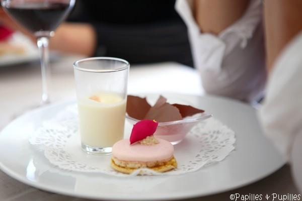 Au nom de la rose : Panacotta rose et amande, crème glacée rose et chocolat au lait, macaron rose abricot