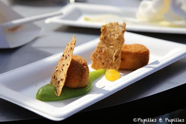 Croquette de crevettes brugeoises, crème de persil, gel de citron et croustillant de têtes - La Tâche