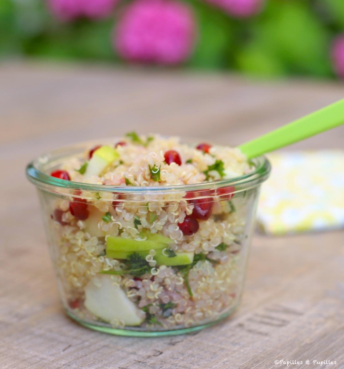 Salade de quinoa, grenade et pomme Granny en video